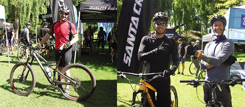 Left: The opportunity to ride the Stumpjumper FSR 29er and the new 6Fattie Stumpie back-to-back was very cool! Right: Thumps up: Grant Baron and David Banks giving the Full Sus Reader Bike Test Day their stamp of approval.