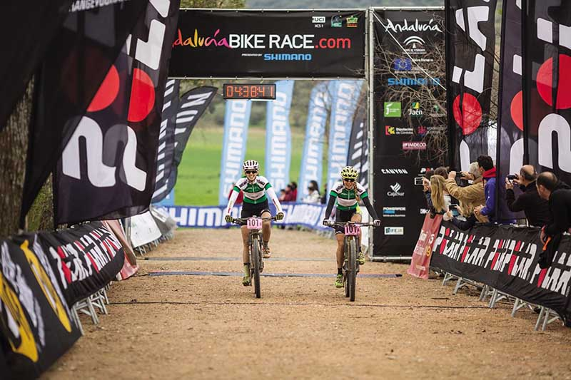 Sally Bigham and Katrin Leumann winning the Andalucia Bike Race for Topeak Ergon Racing.