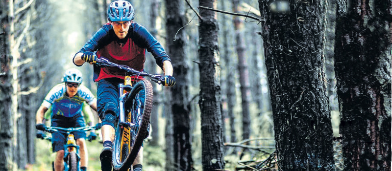 Local trail builder Hylton Turvey sampling some of his classy single-track delights in the Pines Section on Howick Trails.
