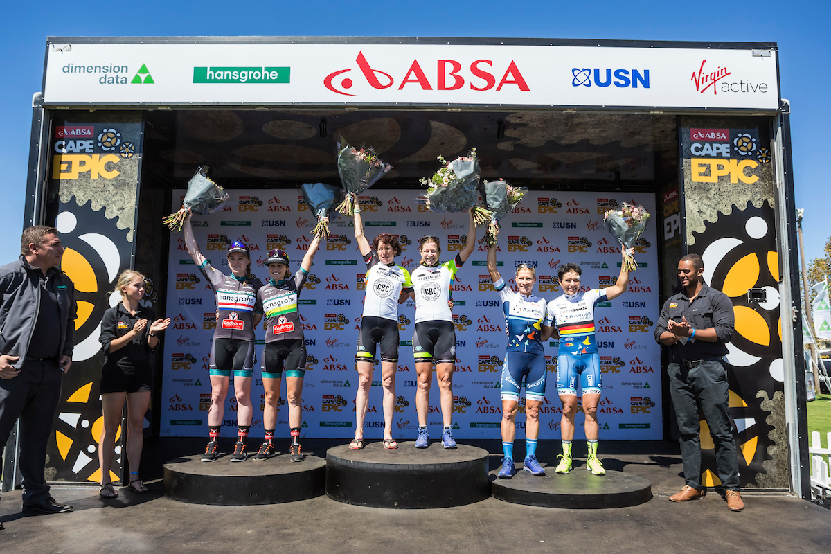 Ladies winners Annie Last and Mariske Strauss ( 2nd ) Esther Süss and Jennie Stenerhag ( 1st ) Robyn de Groot and Sabine Sptiz ( 3rd ) during stage 4 of the 2017 Absa Cape Epic Mountain Bike stage race from Elandskloof in Greyton to Oak Valley Wine Estate in Elgin, South Africa on the 23rd March 2017 Photo by Dominic Barnardt/Cape Epic/SPORTZPICS PLEASE ENSURE THE APPROPRIATE CREDIT IS GIVEN TO THE PHOTOGRAPHER AND SPORTZPICS ALONG WITH THE ABSA CAPE EPIC ace2017