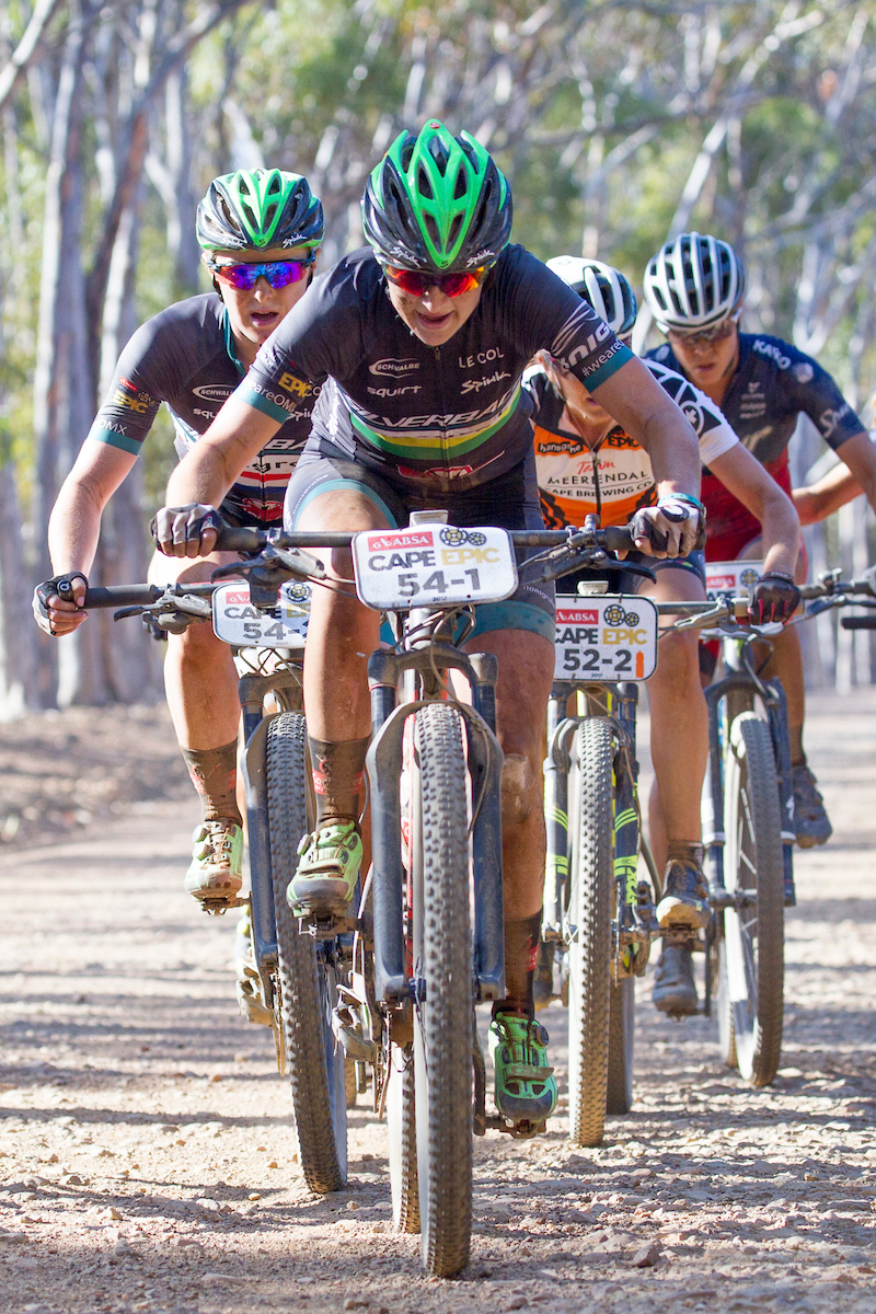 Mariske Strauss and Annie Last of Team Hansgrohe Cadence OMX Pro during stage 4 of the 2017 Absa Cape Epic Mountain Bike stage race from Elandskloof in Greyton to Oak Valley Wine Estate in Elgin, South Africa on the 23rd March 2017 Photo by Greg Beadle/Cape Epic/SPORTZPICS PLEASE ENSURE THE APPROPRIATE CREDIT IS GIVEN TO THE PHOTOGRAPHER AND SPORTZPICS ALONG WITH THE ABSA CAPE EPIC ace2016