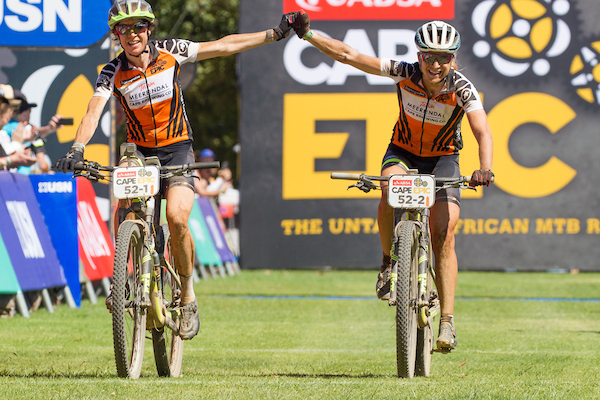 Esther Suss and Jennie Stenerhag of team Meerendal CBC win stage 4 of the 2017 Absa Cape Epic Mountain Bike stage race from Elandskloof in Greyton to Oak Valley Wine Estate in Elgin, South Africa on the 23rd March 2017 Photo by Greg Beadle/Cape Epic/SPORTZPICS PLEASE ENSURE THE APPROPRIATE CREDIT IS GIVEN TO THE PHOTOGRAPHER AND SPORTZPICS ALONG WITH THE ABSA CAPE EPIC ace2016
